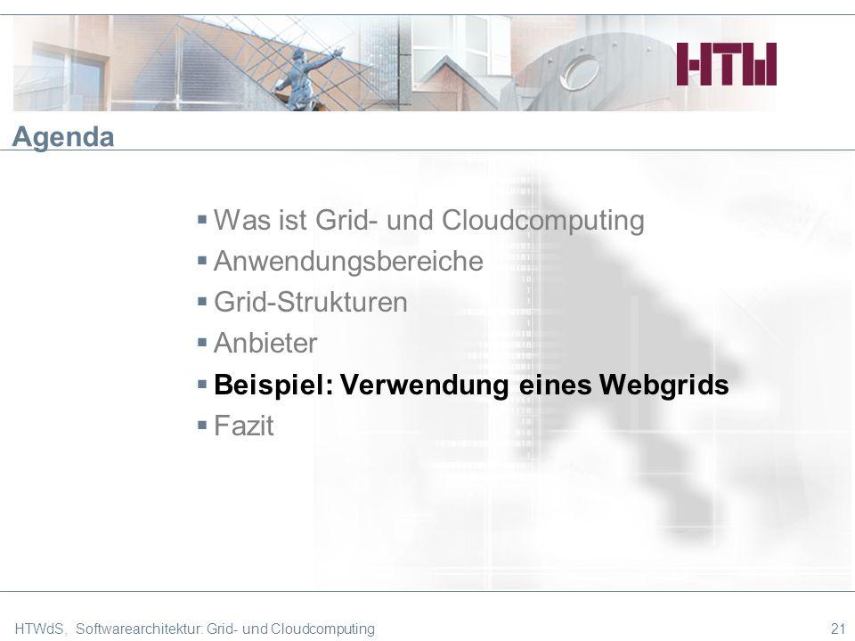 HTWdS, Softwarearchitektur: Grid- und Cloudcomputing21 Agenda Was ist Grid- und Cloudcomputing Anwendungsbereiche Grid-Strukturen Anbieter Beispiel: Verwendung eines Webgrids Fazit
