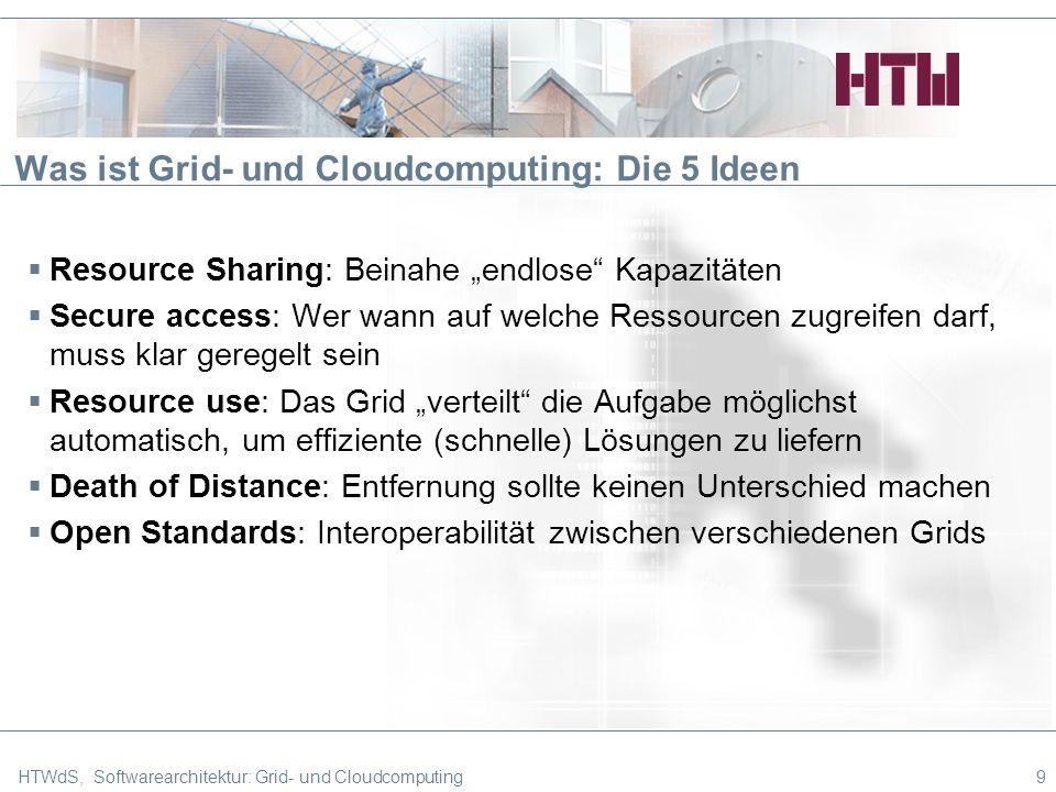 Was ist Grid- und Cloudcomputing: Die 5 Ideen Resource Sharing: Beinahe endlose Kapazitäten Secure access: Wer wann auf welche Ressourcen zugreifen darf, muss klar geregelt sein Resource use: Das Grid verteilt die Aufgabe möglichst automatisch, um effiziente (schnelle) Lösungen zu liefern Death of Distance: Entfernung sollte keinen Unterschied machen Open Standards: Interoperabilität zwischen verschiedenen Grids HTWdS, Softwarearchitektur: Grid- und Cloudcomputing9