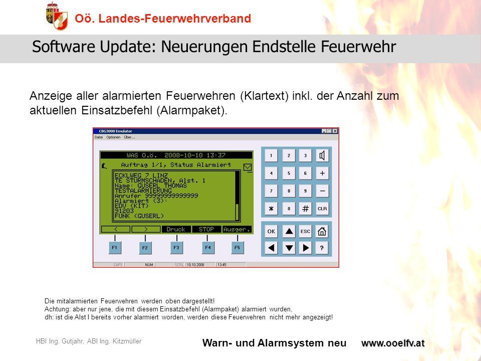 Warn- und Alarmsystem neu Oö. Landes-Feuerwehrverband HBI Ing. Gutjahr, ABI Ing. Kitzmüllerwww.ooelfv.at Software Update: Neuerungen Endstelle Feuerwe