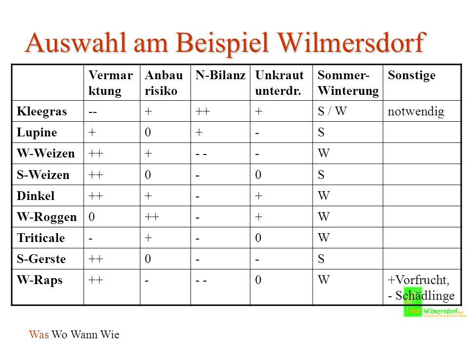 Auswahl am Beispiel Wilmersdorf Vermar ktung Anbau risiko N-BilanzUnkraut unterdr.