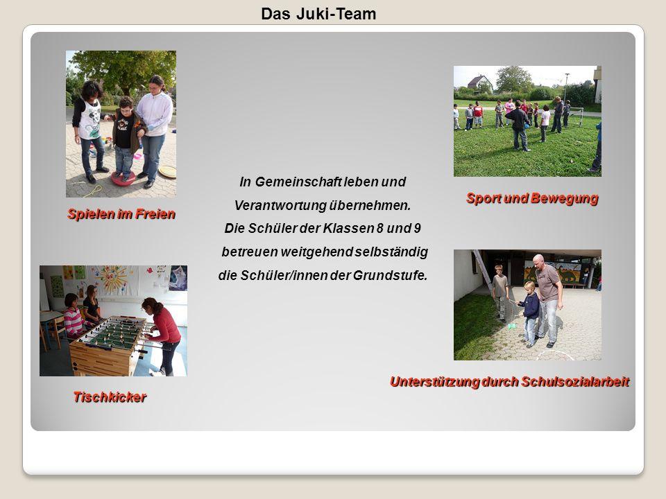 Das Juki-Team Spielen im Freien Sport und Bewegung Tischkicker Unterstützung durch Schulsozialarbeit In Gemeinschaft leben und Verantwortung übernehme