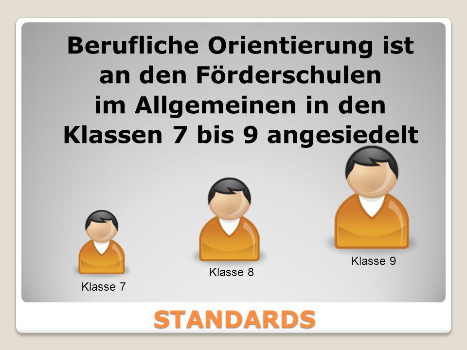 STANDARDS Berufliche Orientierung ist an den Förderschulen im Allgemeinen in den Klassen 7 bis 9 angesiedelt Klasse 7 Klasse 8 Klasse 9