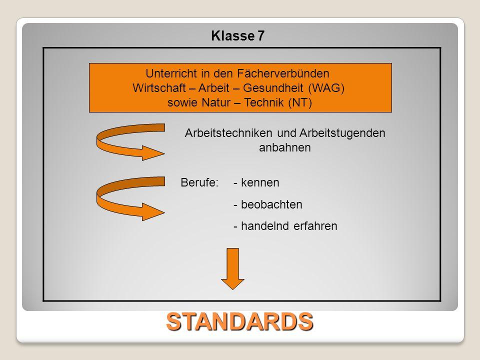 STANDARDS Klasse 7 Schnupperpraktikum / Betriebspraktikum Individuell bis max.