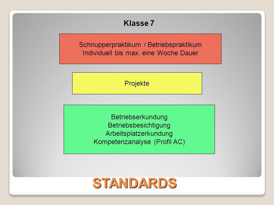 STANDARDS Klasse 7 Schnupperpraktikum / Betriebspraktikum Individuell bis max. eine Woche Dauer Projekte Betriebserkundung Betriebsbesichtigung Arbeit