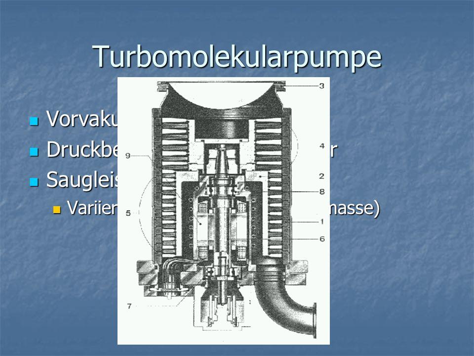 Turbomolekularpumpe Vorvakuum erforderlich Vorvakuum erforderlich Druckbereich: 10 -3 - 10 -10 mbar Druckbereich: 10 -3 - 10 -10 mbar Saugleistung: 18