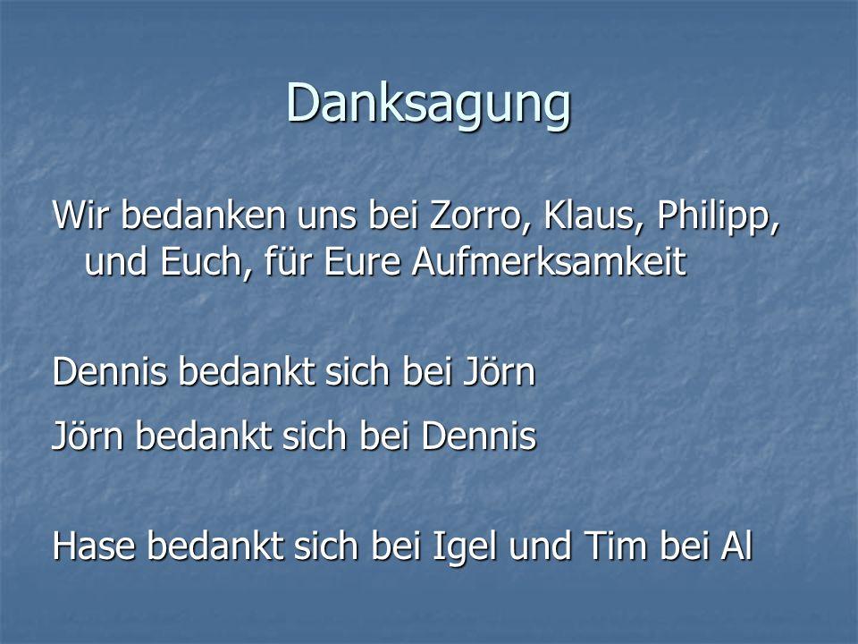 Danksagung Wir bedanken uns bei Zorro, Klaus, Philipp, und Euch, für Eure Aufmerksamkeit Dennis bedankt sich bei Jörn Jörn bedankt sich bei Dennis Has