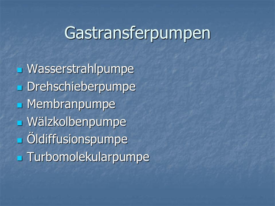 Wasserstrahlpumpe Druckbereich: Druckbereich: atm bis ca.