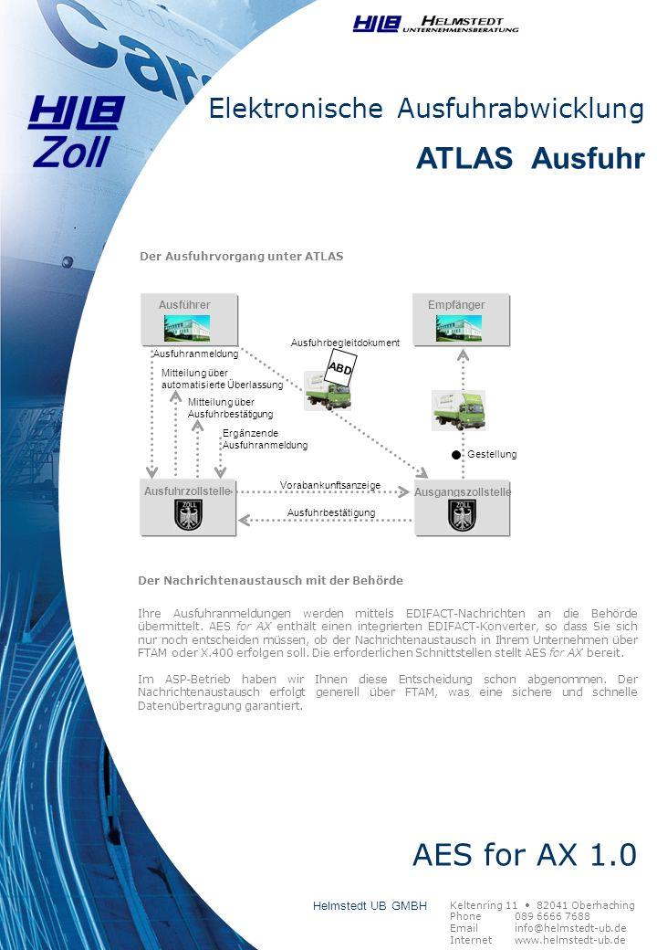 Ergänzende Ausfuhranmeldung Ausführer Ausfuhrzollstelle Ausfuhranmeldung Mitteilung über automatisierte Überlassung Mitteilung über Ausfuhrbestätigung