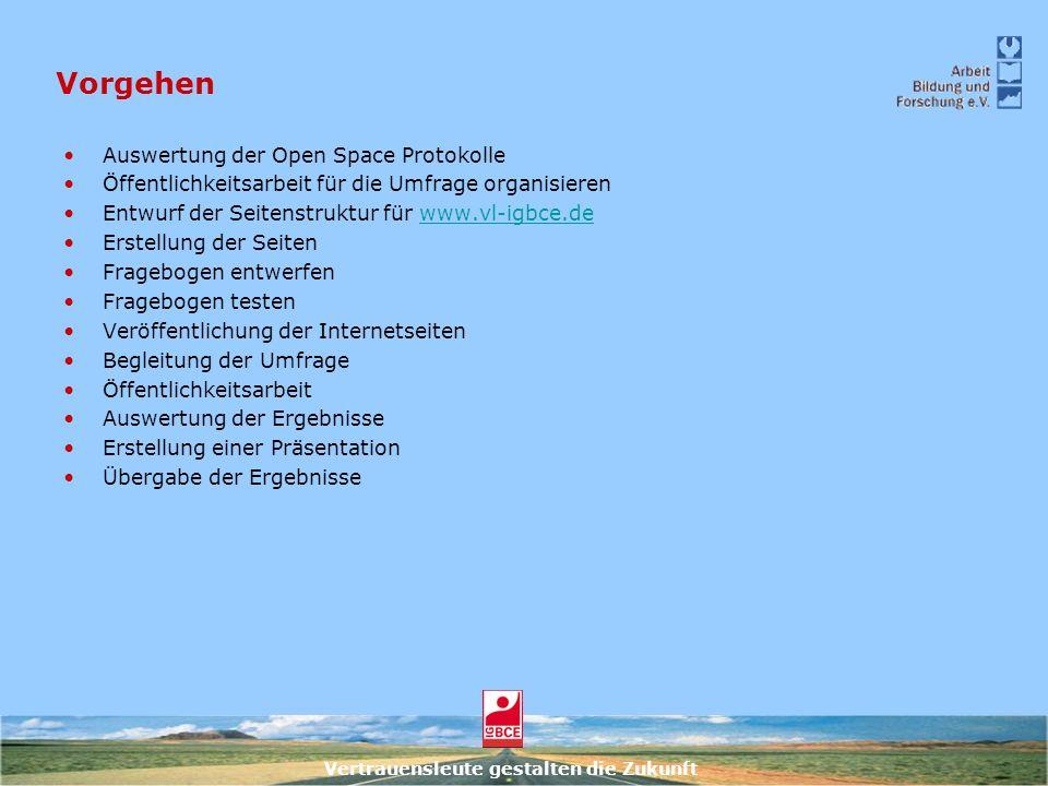 Vertrauensleute gestalten die Zukunft Vorgehen Auswertung der Open Space Protokolle Öffentlichkeitsarbeit für die Umfrage organisieren Entwurf der Sei