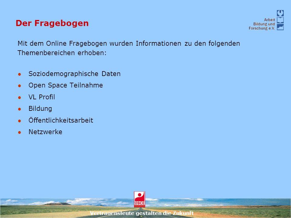 Vertrauensleute gestalten die Zukunft Der Fragebogen Mit dem Online Fragebogen wurden Informationen zu den folgenden Themenbereichen erhoben: Soziodem