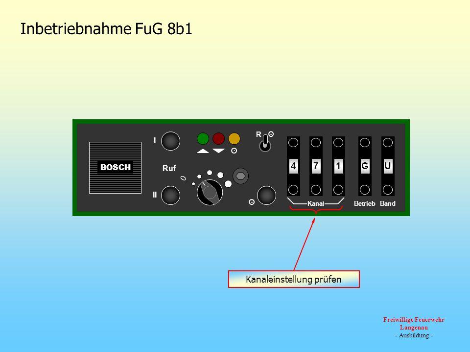 BOSCH 0 Ruf III R U174G Kana l BandBetrieb 23454321 Inbetriebnahme FuG 8b1 Kanaleinstellung prüfen Freiwillige Feuerwehr Langenau - Ausbildung -