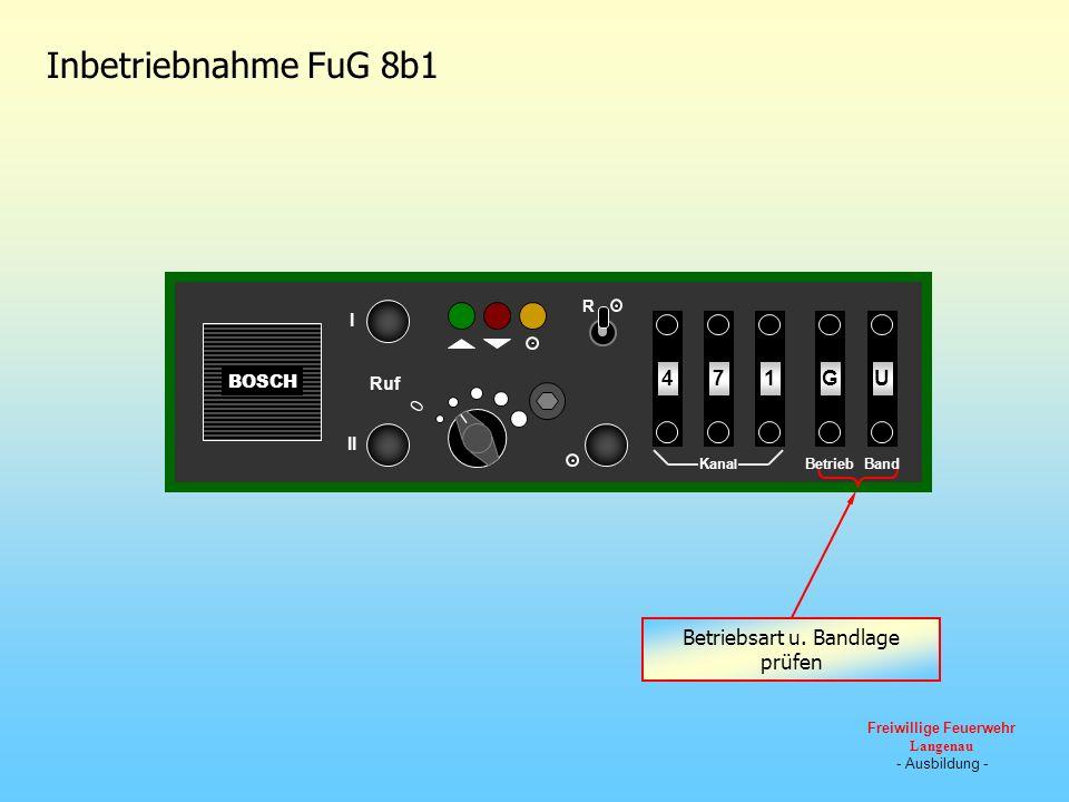 BOSCH 0 Ruf III R U174G Kana l BandBetrieb WGOU Inbetriebnahme FuG 8b1 Betriebsart u. Bandlage prüfen Freiwillige Feuerwehr Langenau - Ausbildung -