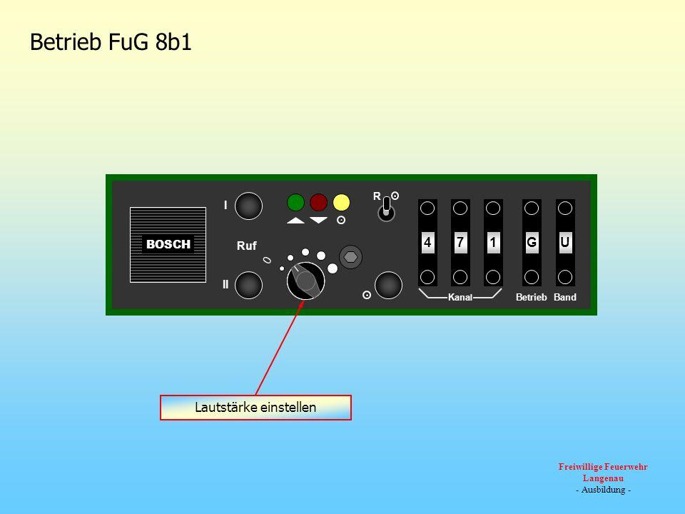 BOSCH 0 Ruf III R U174G Kana l BandBetrieb Betrieb FuG 8b1 Auftasten eines Relais über Tonruf I oder II Sendekontrollleuchte leuchtet während der Tonrufaussendung und Sendertastung Empfangskontrollleuchte leuchtet wenn das Gerät empfängt (z.B.