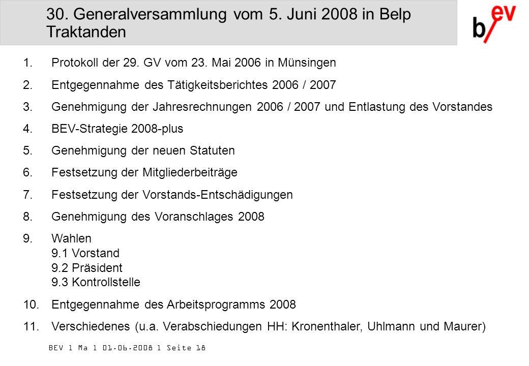 BEV l Ma l 01.06.2008 l Seite 18 30. Generalversammlung vom 5.