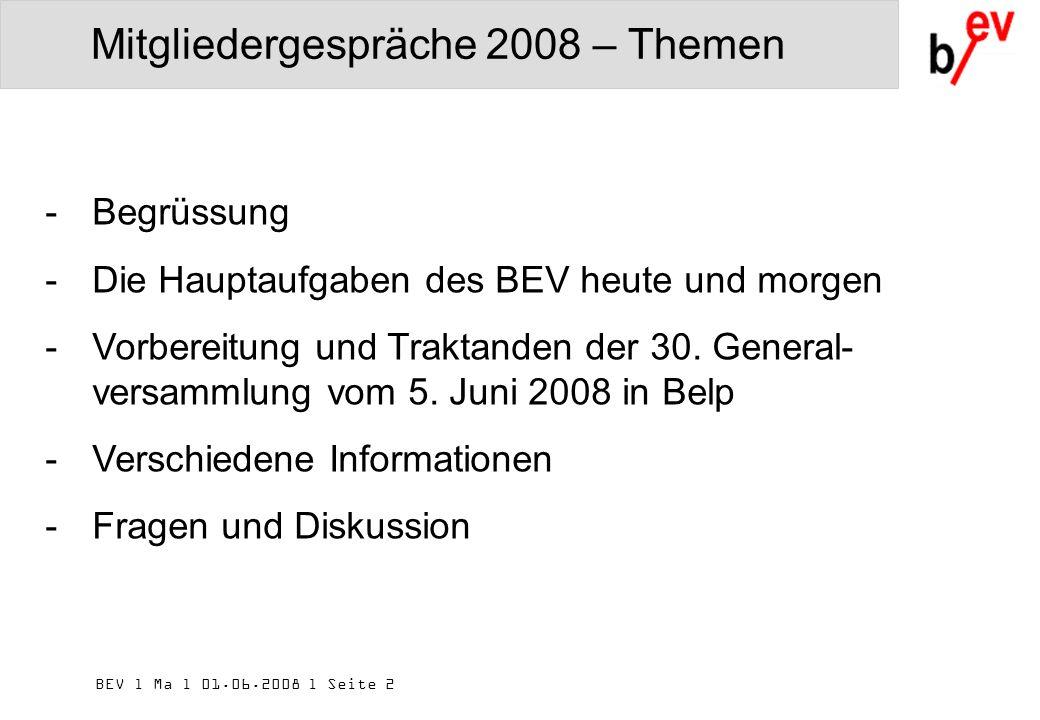 BEV l Ma l 01.06.2008 l Seite 2 Mitgliedergespräche 2008 – Themen -Begrüssung -Die Hauptaufgaben des BEV heute und morgen -Vorbereitung und Traktanden der 30.