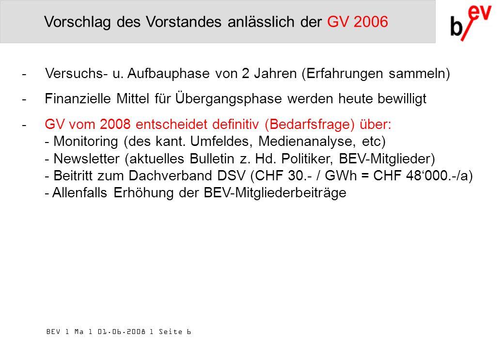 BEV l Ma l 01.06.2008 l Seite 6 Vorschlag des Vorstandes anlässlich der GV 2006 -Versuchs- u.