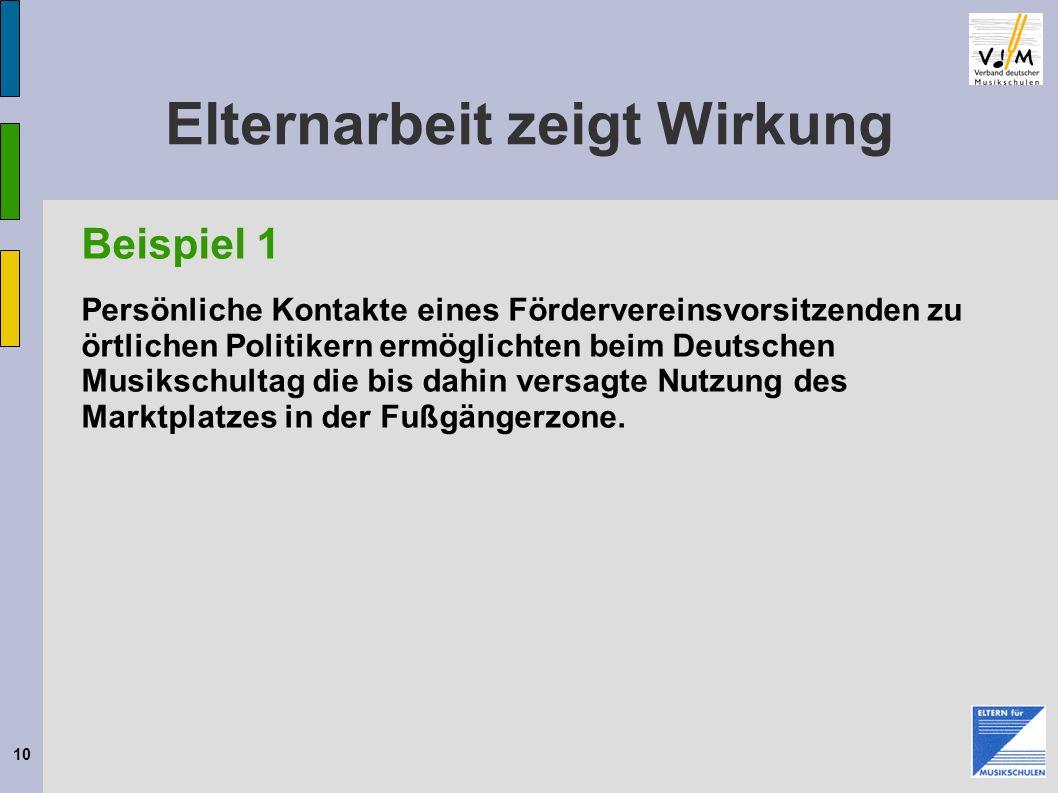 10 Elternarbeit zeigt Wirkung Beispiel 1 Persönliche Kontakte eines Fördervereinsvorsitzenden zu örtlichen Politikern ermöglichten beim Deutschen Musi