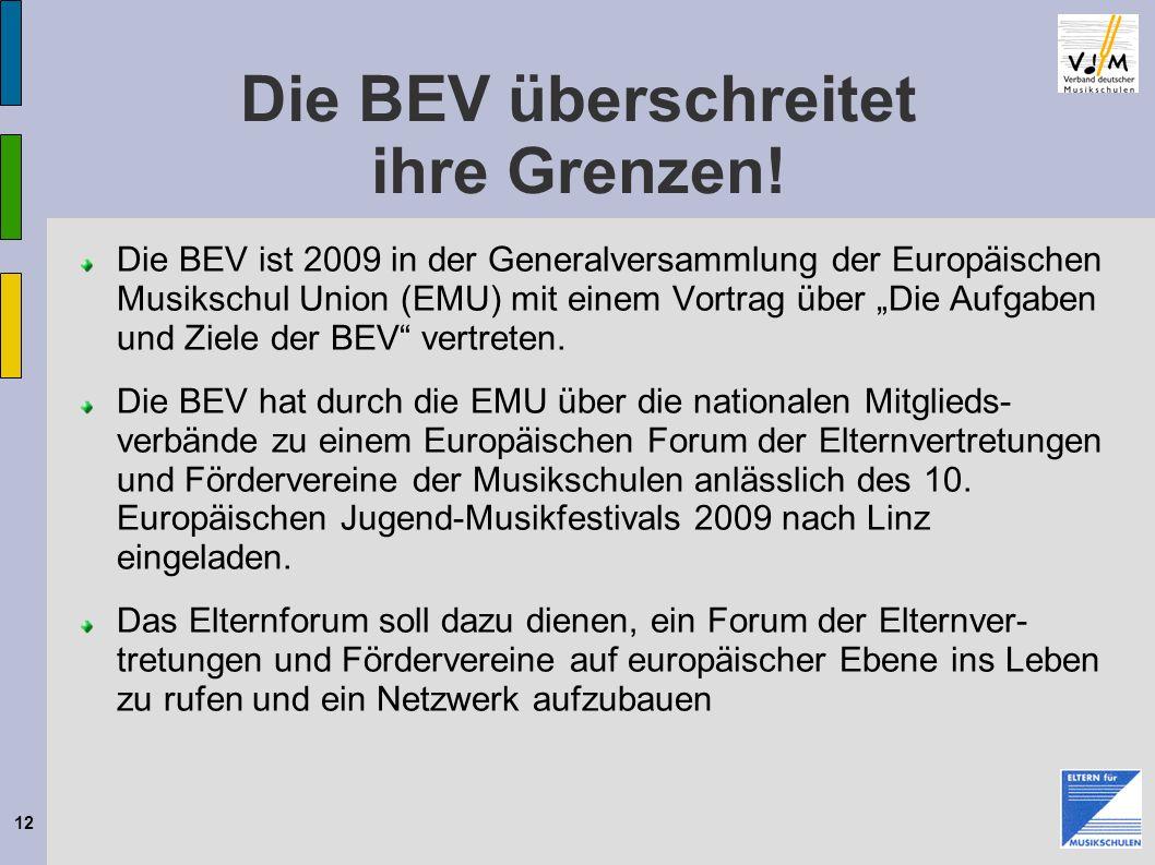 12 Die BEV überschreitet ihre Grenzen! Die BEV ist 2009 in der Generalversammlung der Europäischen Musikschul Union (EMU) mit einem Vortrag über Die A