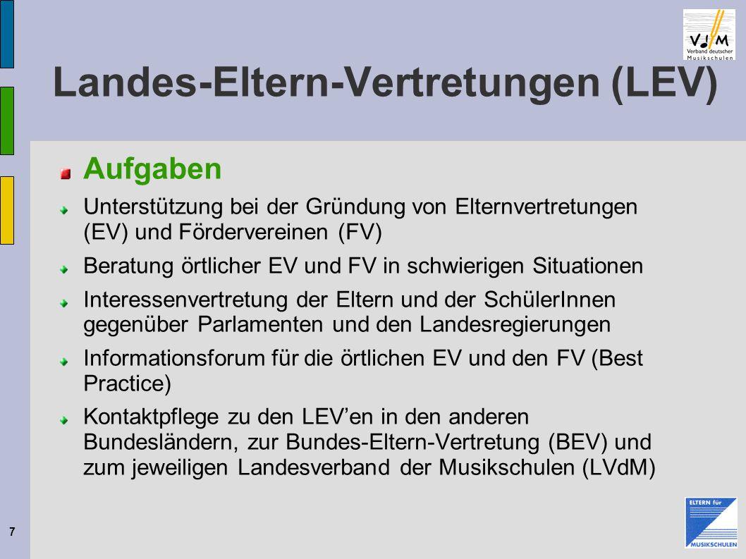 7 Landes-Eltern-Vertretungen (LEV) Aufgaben Unterstützung bei der Gründung von Elternvertretungen (EV) und Fördervereinen (FV) Beratung örtlicher EV u