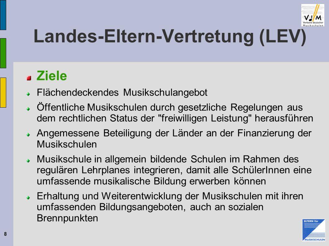 8 Landes-Eltern-Vertretung (LEV) Ziele Flächendeckendes Musikschulangebot Öffentliche Musikschulen durch gesetzliche Regelungen aus dem rechtlichen St