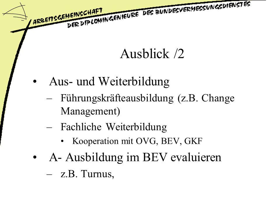Ausblick /2 Aus- und Weiterbildung –Führungskräfteausbildung (z.B.
