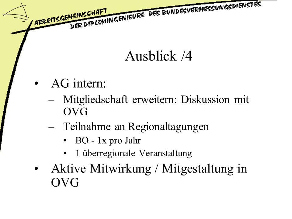 Ausblick /4 AG intern: –Mitgliedschaft erweitern: Diskussion mit OVG –Teilnahme an Regionaltagungen BO - 1x pro Jahr 1 überregionale Veranstaltung Aktive Mitwirkung / Mitgestaltung in OVG