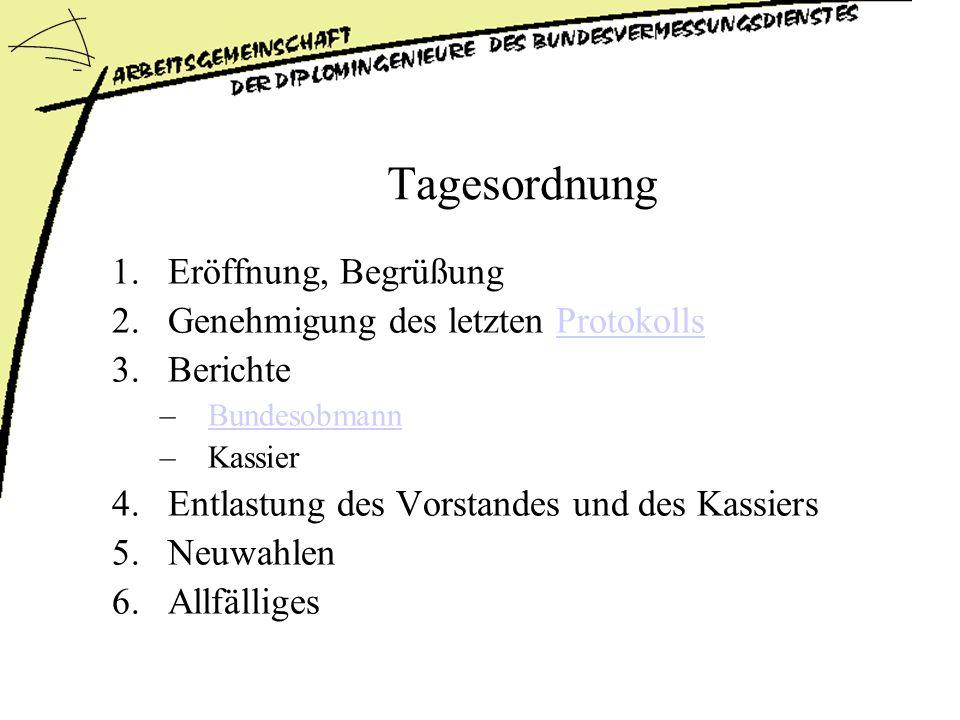 Tagesordnung 1.Eröffnung, Begrüßung 2.Genehmigung des letzten ProtokollsProtokolls 3.Berichte –BundesobmannBundesobmann –Kassier 4.Entlastung des Vorstandes und des Kassiers 5.Neuwahlen 6.Allfälliges