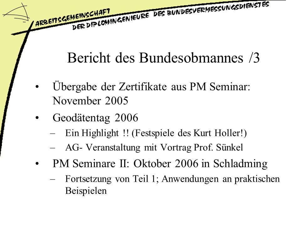 Bericht des Bundesobmannes /3 Übergabe der Zertifikate aus PM Seminar: November 2005 Geodätentag 2006 –Ein Highlight !.
