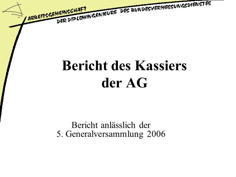 Bericht des Kassiers der AG Bericht anlässlich der 5. Generalversammlung 2006