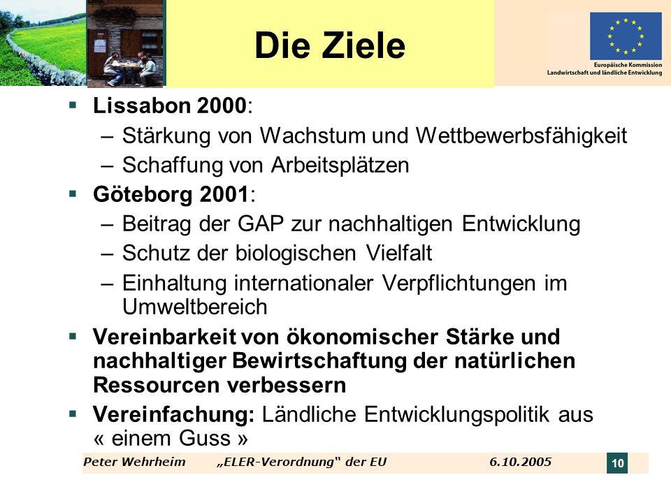 10 Die Ziele Lissabon 2000: –Stärkung von Wachstum und Wettbewerbsfähigkeit –Schaffung von Arbeitsplätzen Göteborg 2001: –Beitrag der GAP zur nachhalt