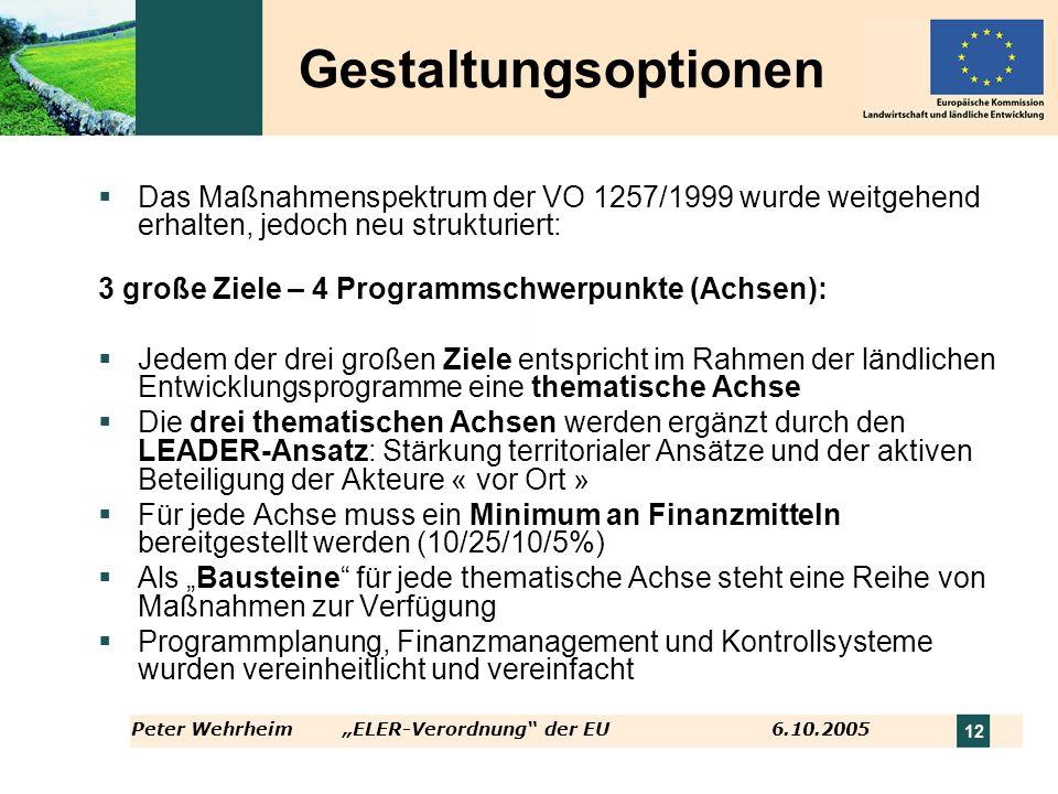 Peter WehrheimELER-Verordnung der EU 6.10.2005 12 Das Maßnahmenspektrum der VO 1257/1999 wurde weitgehend erhalten, jedoch neu strukturiert: 3 große Z