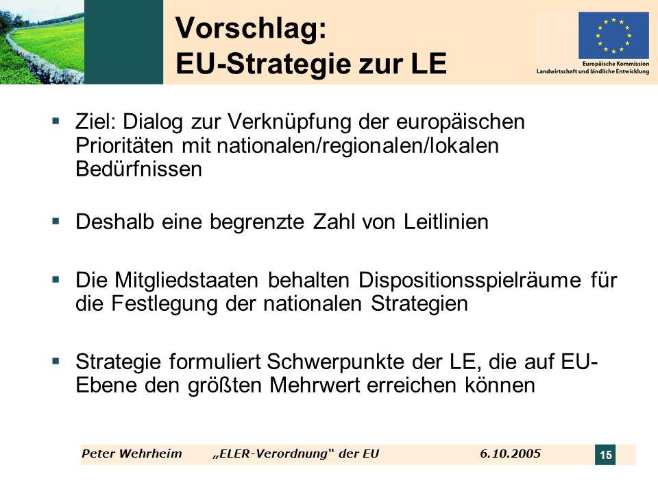 Peter WehrheimELER-Verordnung der EU 6.10.2005 15 Vorschlag: EU-Strategie zur LE Ziel: Dialog zur Verknüpfung der europäischen Prioritäten mit nationa