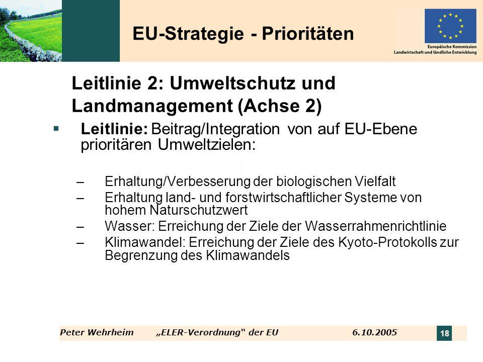 Peter WehrheimELER-Verordnung der EU 6.10.2005 18 Leitlinie 2: Umweltschutz und Landmanagement (Achse 2) Leitlinie: Beitrag/Integration von auf EU-Ebe