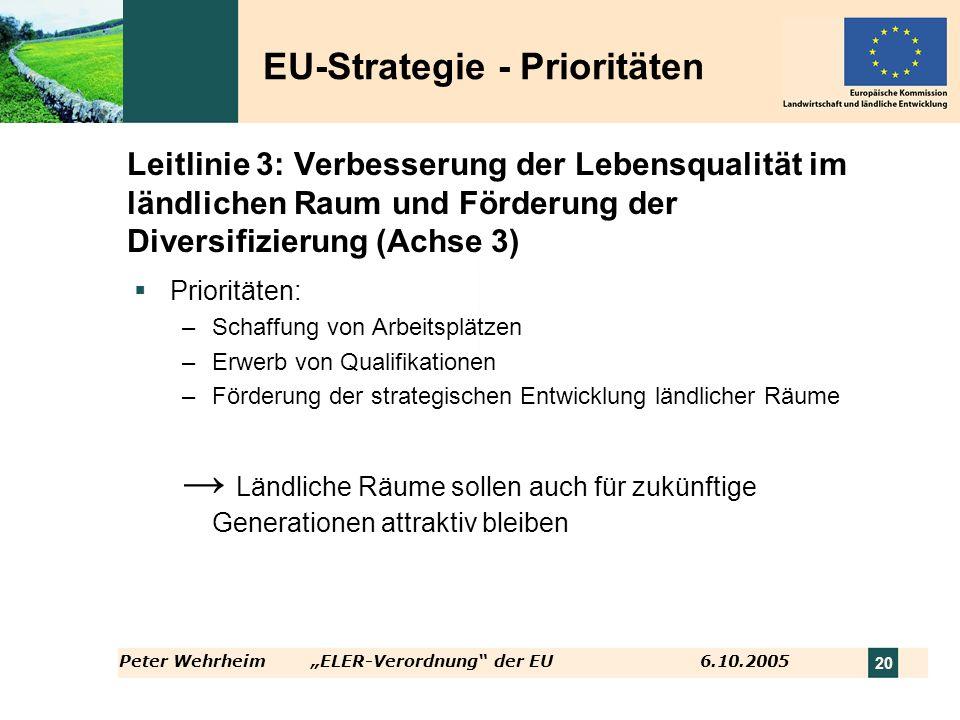 Peter WehrheimELER-Verordnung der EU 6.10.2005 20 Leitlinie 3: Verbesserung der Lebensqualität im ländlichen Raum und Förderung der Diversifizierung (