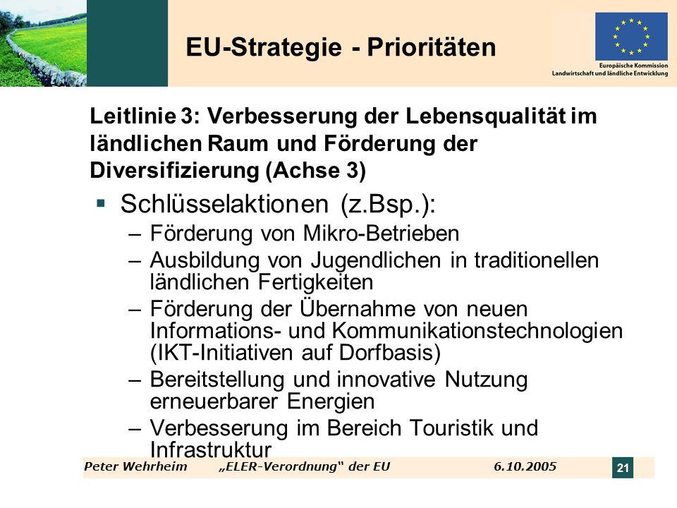 Peter WehrheimELER-Verordnung der EU 6.10.2005 21 Leitlinie 3: Verbesserung der Lebensqualität im ländlichen Raum und Förderung der Diversifizierung (