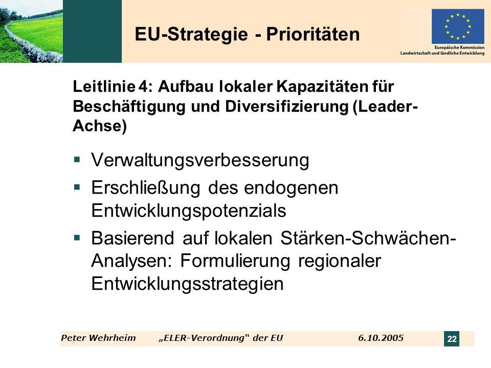 Peter WehrheimELER-Verordnung der EU 6.10.2005 22 Leitlinie 4: Aufbau lokaler Kapazitäten für Beschäftigung und Diversifizierung (Leader- Achse) Verwa