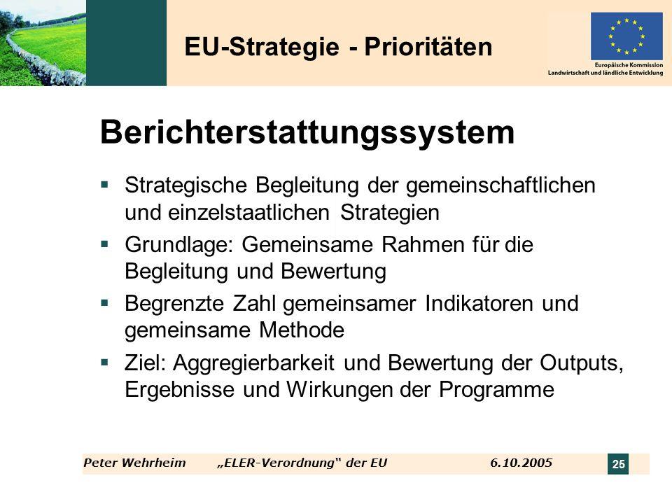 Peter WehrheimELER-Verordnung der EU 6.10.2005 25 Berichterstattungssystem Strategische Begleitung der gemeinschaftlichen und einzelstaatlichen Strate