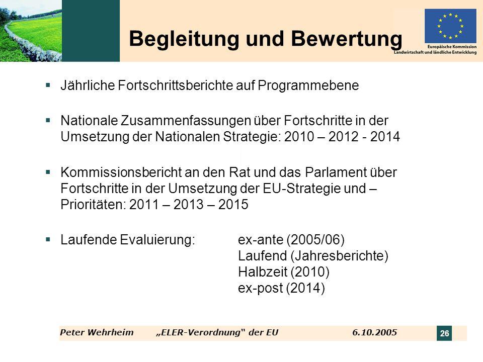 Peter WehrheimELER-Verordnung der EU 6.10.2005 26 Begleitung und Bewertung Jährliche Fortschrittsberichte auf Programmebene Nationale Zusammenfassunge