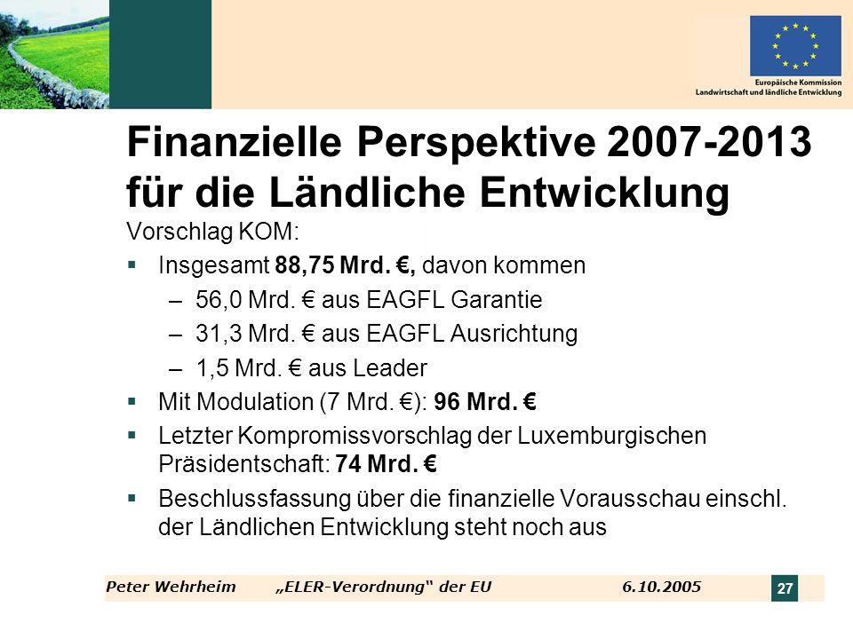 Peter WehrheimELER-Verordnung der EU 6.10.2005 27 Finanzielle Perspektive 2007-2013 für die Ländliche Entwicklung Vorschlag KOM: Insgesamt 88,75 Mrd.,