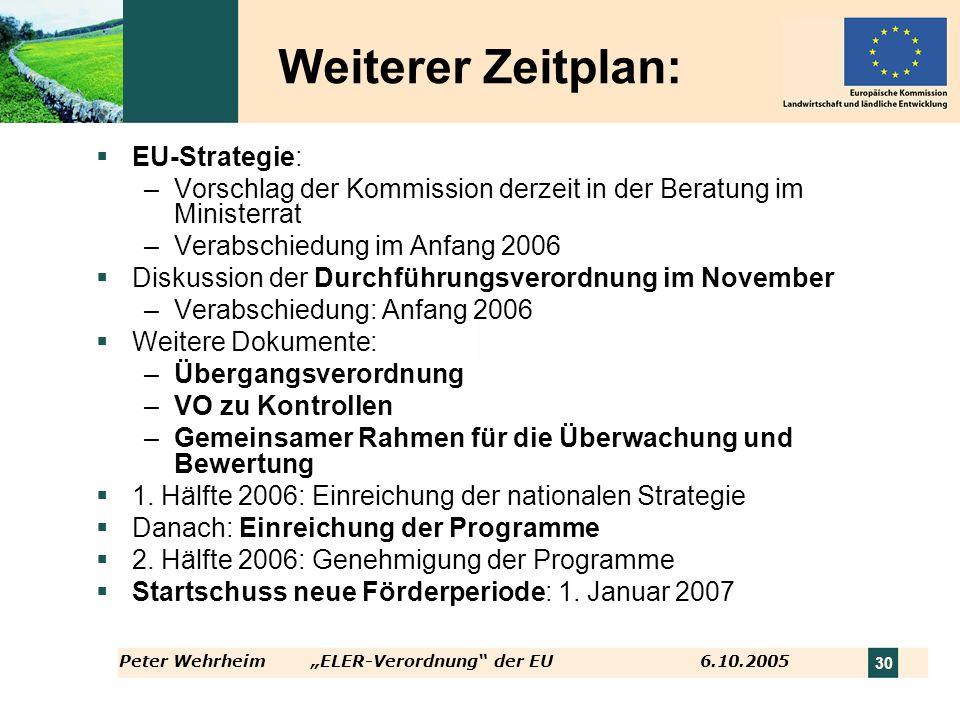 Peter WehrheimELER-Verordnung der EU 6.10.2005 30 Weiterer Zeitplan: EU-Strategie: –Vorschlag der Kommission derzeit in der Beratung im Ministerrat –V
