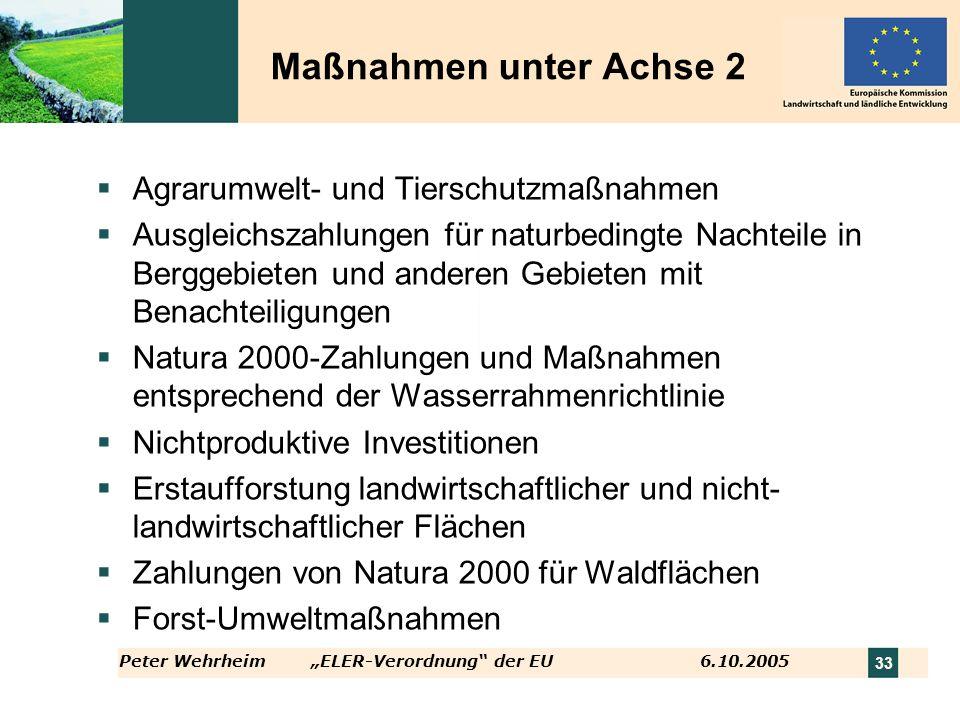 Peter WehrheimELER-Verordnung der EU 6.10.2005 33 Maßnahmen unter Achse 2 Agrarumwelt- und Tierschutzmaßnahmen Ausgleichszahlungen für naturbedingte N
