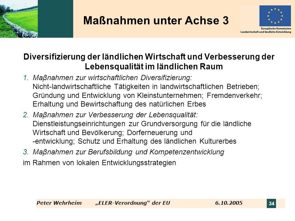 Peter WehrheimELER-Verordnung der EU 6.10.2005 34 Diversifizierung der ländlichen Wirtschaft und Verbesserung der Lebensqualität im ländlichen Raum 1.