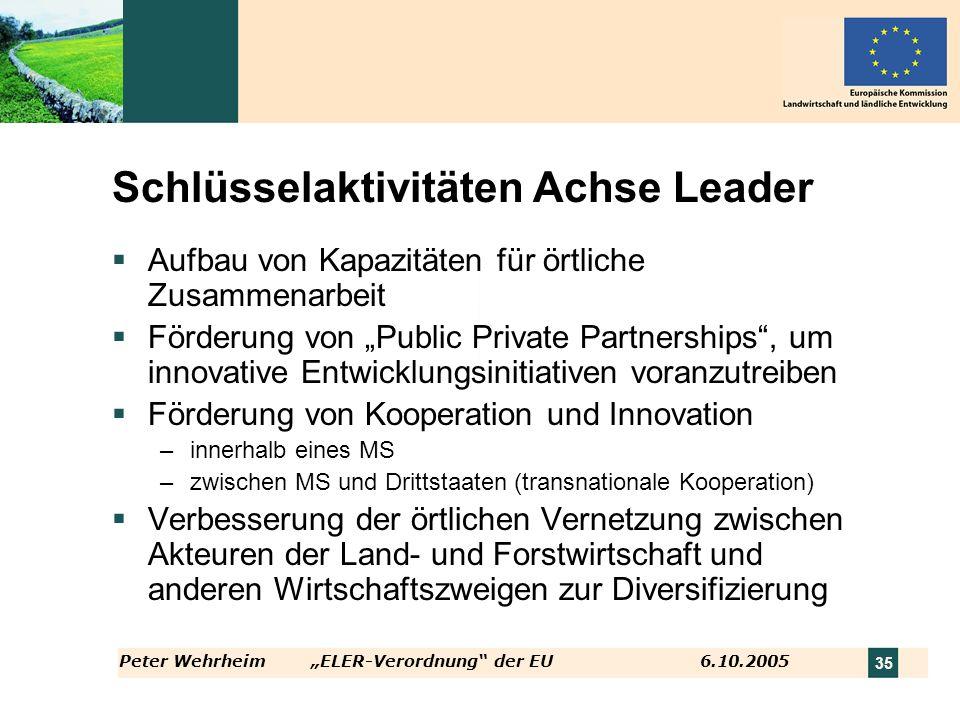 Peter WehrheimELER-Verordnung der EU 6.10.2005 35 Schlüsselaktivitäten Achse Leader Aufbau von Kapazitäten für örtliche Zusammenarbeit Förderung von P