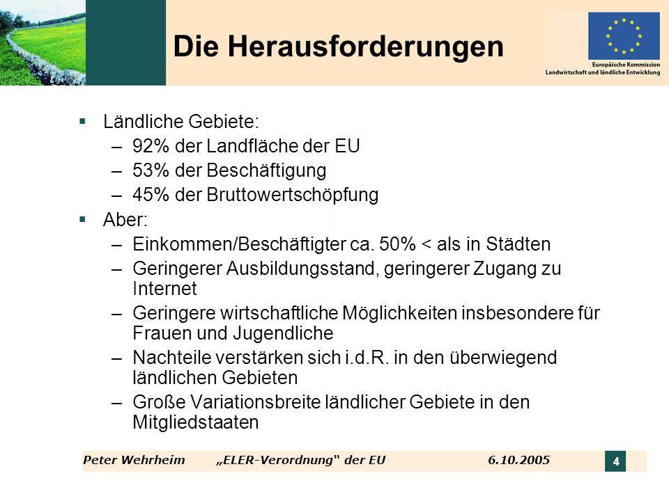 Peter WehrheimELER-Verordnung der EU 6.10.2005 4 Die Herausforderungen Ländliche Gebiete: –92% der Landfläche der EU –53% der Beschäftigung –45% der B