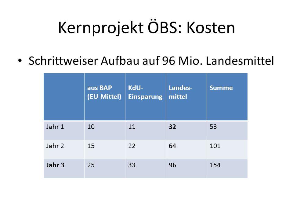 Kernprojekt ÖBS: Kosten Schrittweiser Aufbau auf 96 Mio. Landesmittel aus BAP (EU-Mittel) KdU- Einsparung Landes- mittel Summe Jahr 110113253 Jahr 215