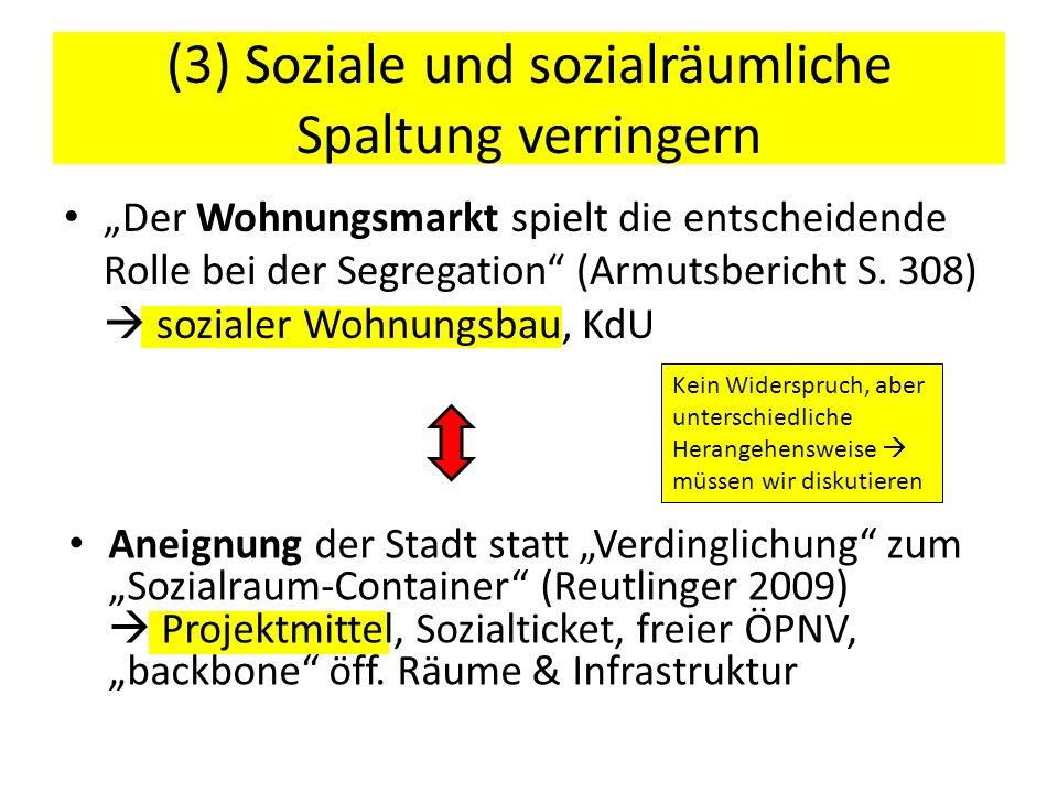 Der Wohnungsmarkt spielt die entscheidende Rolle bei der Segregation (Armutsbericht S. 308) sozialer Wohnungsbau, KdU (3) Soziale und sozialräumliche