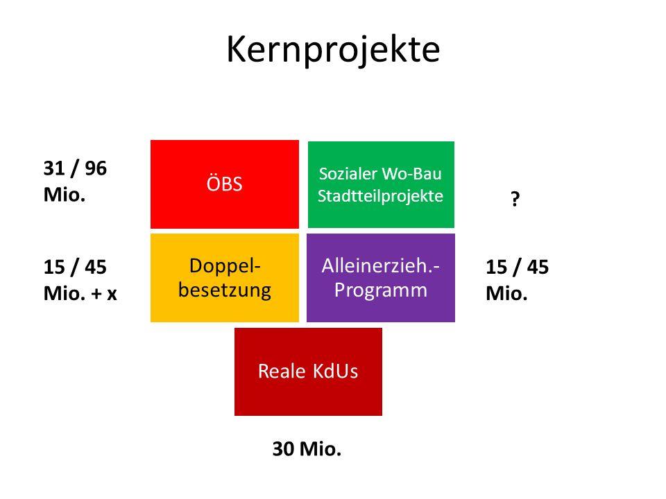 Sozialer Wo-Bau Stadtteilprojekte Doppel- besetzung ÖBS Alleinerzieh.- Programm Reale KdUs Kernprojekte 31 / 96 Mio. 15 / 45 Mio. ? 15 / 45 Mio. + x 3