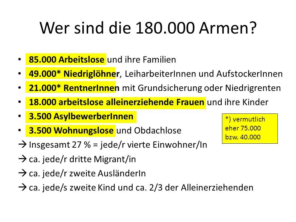 85.000 Arbeitslose und ihre Familien 49.000* Niedriglöhner, LeiharbeiterInnen und AufstockerInnen 21.000* RentnerInnen mit Grundsicherung oder Niedrig