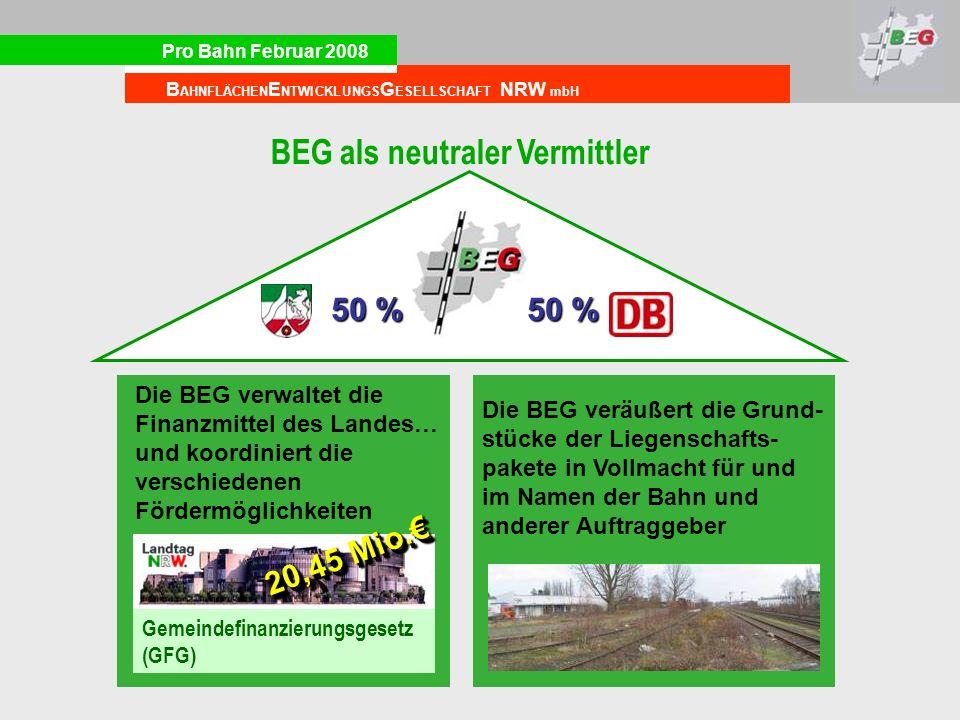 Pro Bahn Februar 2008 B AHNFLÄCHEN E NTWICKLUNGS G ESELLSCHAFT NRW mbH 50 % Gemeindefinanzierungsgesetz (GFG) 20,45 Mio. Die BEG verwaltet die Finanzm