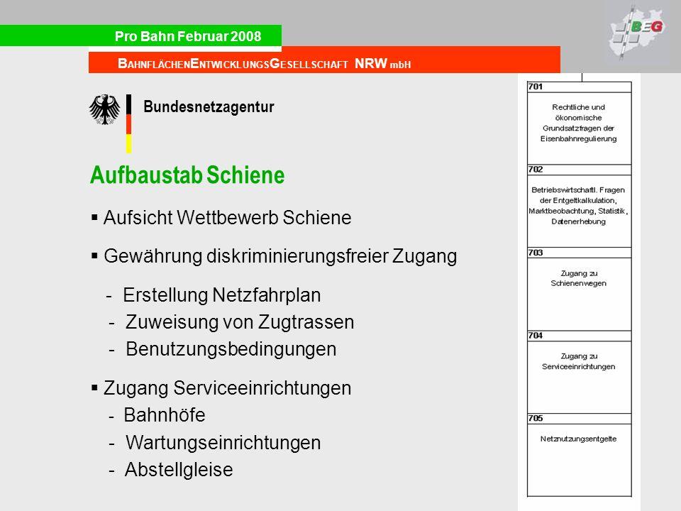 Pro Bahn Februar 2008 B AHNFLÄCHEN E NTWICKLUNGS G ESELLSCHAFT NRW mbH Aufbaustab Schiene Aufsicht Wettbewerb Schiene Gewährung diskriminierungsfreier